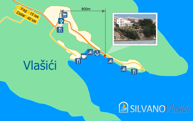 Map Of Vlasici Village Pag Island Map Silvano Apartments